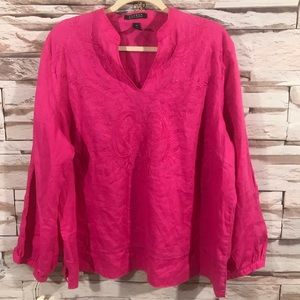 Lauren Embroidered Pink Blouse Sz 2X (K19)